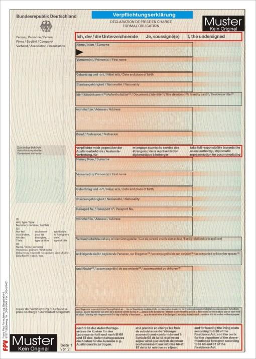 verpflichtungserklrung ansicht - Verpflichtungserklarung Muster